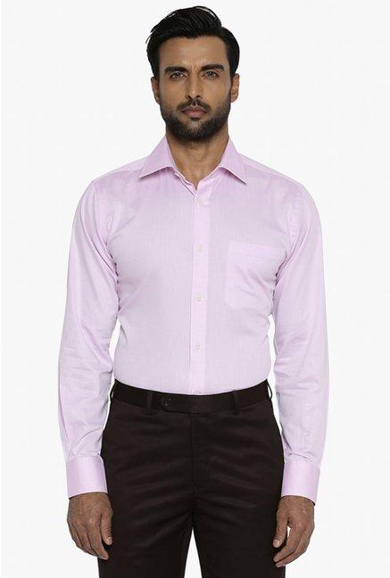 3a899e4edab Buy Raymond Light Pink Full Sleeves Cotton Shirt for Men Online   Tata CLiQ