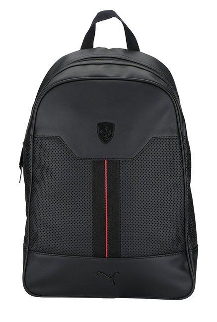 be4b488c9d Buy Puma Ferrari LS Black Perforated Leather Laptop Backpack For Men At  Best Price @ Tata CLiQ