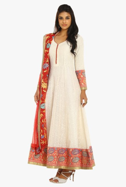 Soch Off White & Red Embroidered Chanderi Suit Set