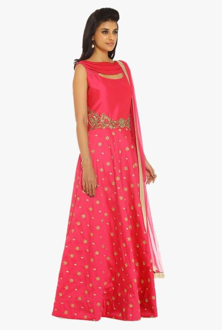 Soch Magenta & Gold Embroidered Silk Suit Set