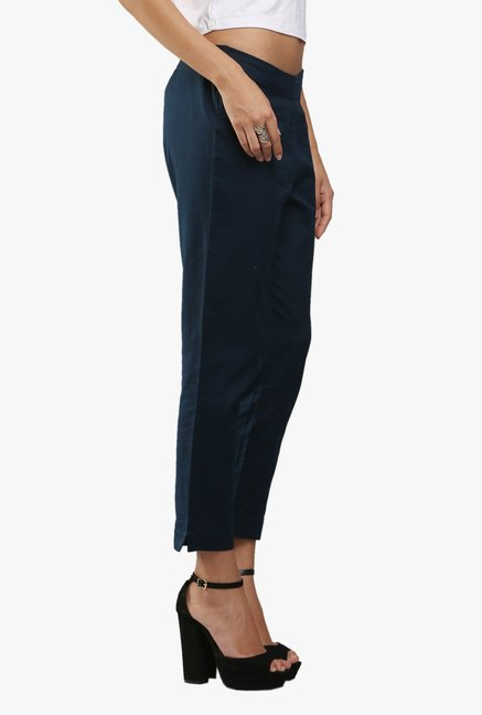 W Navy Regular Fit Pleated Trousers
