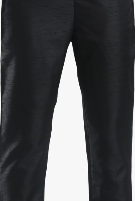 W Black Regular Fit Pleated Trousers