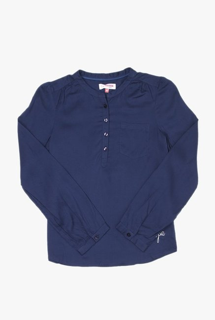 64840441b Buy US Polo Navy Solid Top for Girls Clothing Online   Tata CLiQ