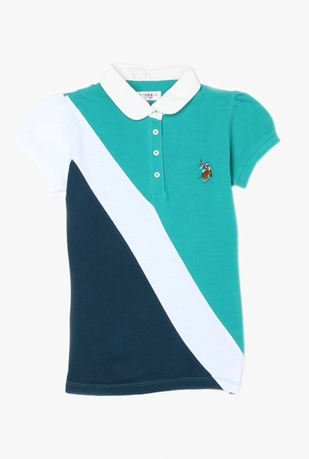 4c0789a12 Buy US Polo Navy   Green Solid T-Shirt for Girls Clothing Online   Tata CLiQ