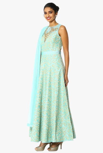 Soch Green & Beige Embroidered Chanderi Anarkali Suit Set
