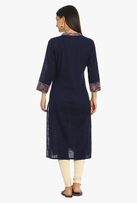 Soch Navy Textured Cotton Kurta
