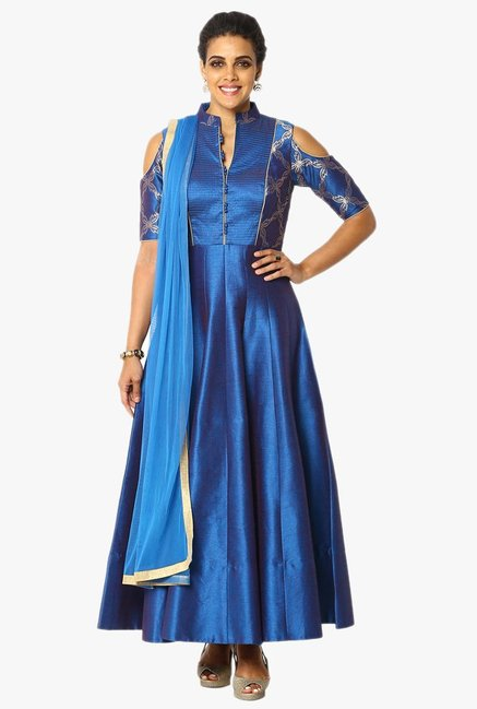 Soch Blue Printed Chanderi A Line Anarkali Suit Set