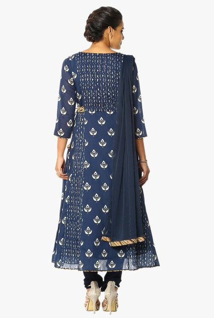 Soch Navy Printed Cotton Anarkali Churidar