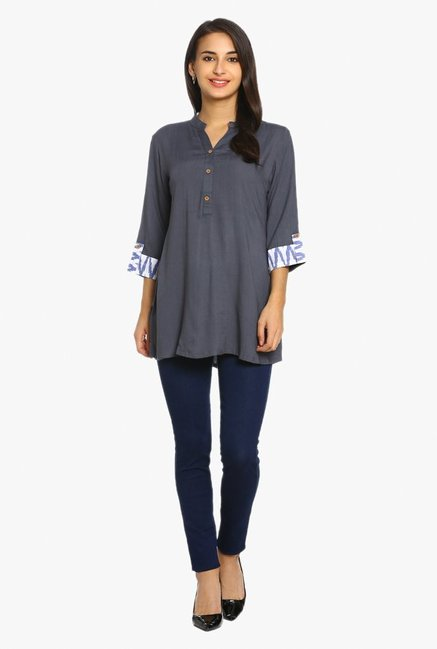 Soch Grey Textured Rayon Tunic
