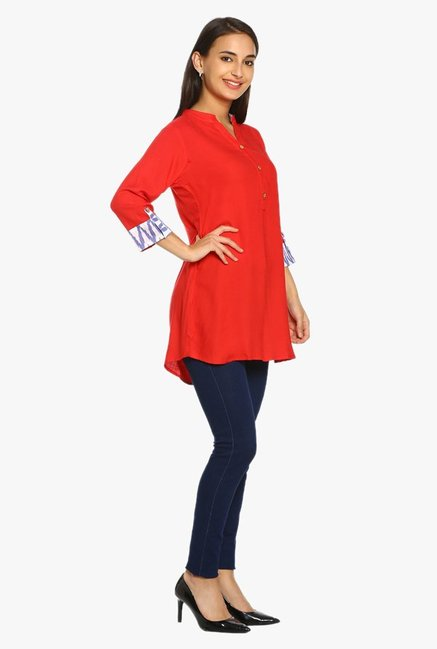 Soch Red Textured Rayon Tunic