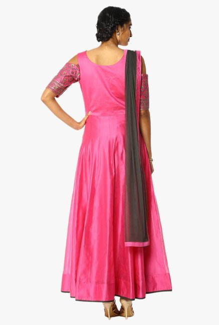 Soch Pink & Dark Grey Embroidered Chanderi Anarkali Suit Set
