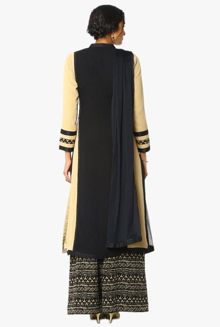 Soch Black & Beige Embroidered Georgette Suit Set