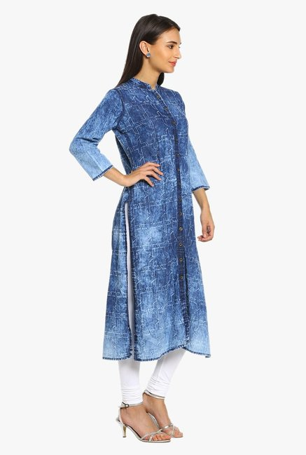 Soch Blue Printed Denim Kurta