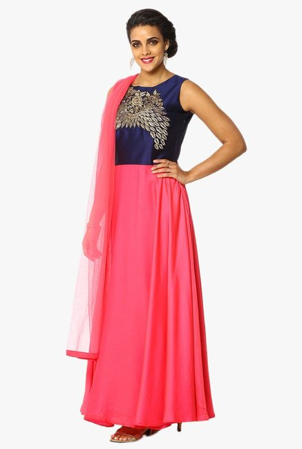 Soch Navy & Pink Embroidered Silk A Line Anarkali Suit Set