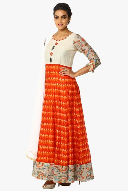 Soch Beige & Orange Printed Chanderi Anarkali Suit Set