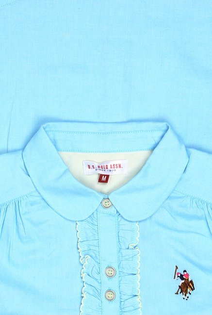 aa4063e662d67 Buy US Polo Blue Solid Shirt for Girls Clothing Online   Tata CLiQ
