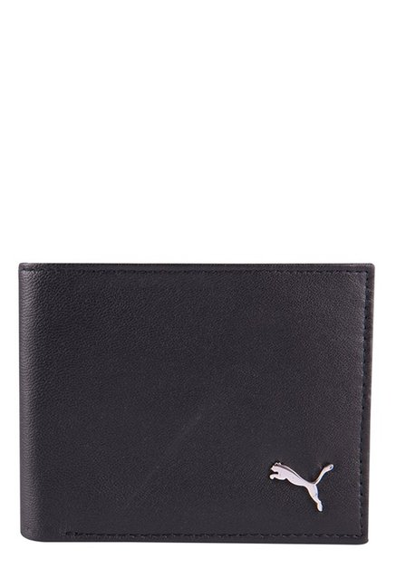 Puma Black Solid Leather Bi-Fold Wallet