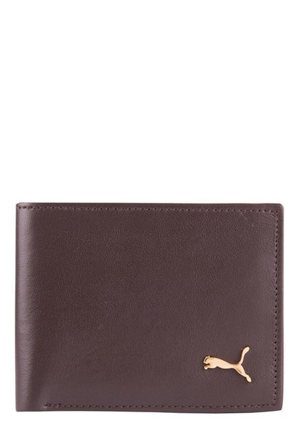 Puma Brown Solid Leather Bi-Fold Wallet