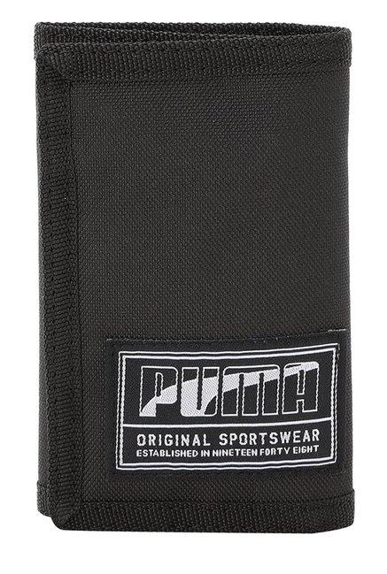 Puma Academy Black Solid Polyester Tri-Fold Wallet