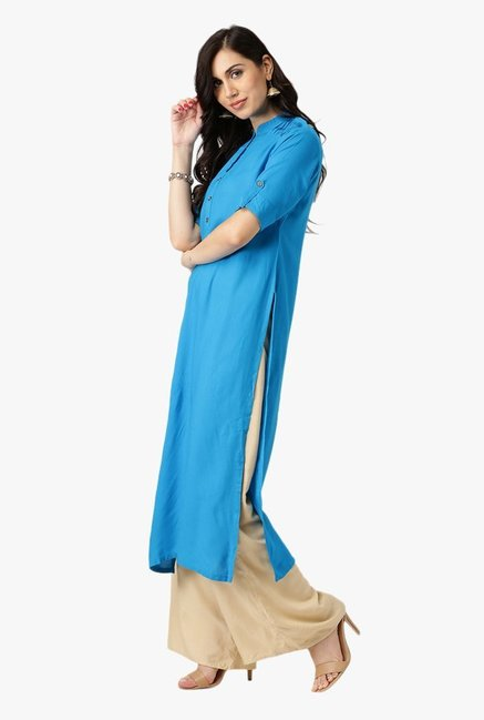 Libas Blue Regular Fit Rayon Kurta