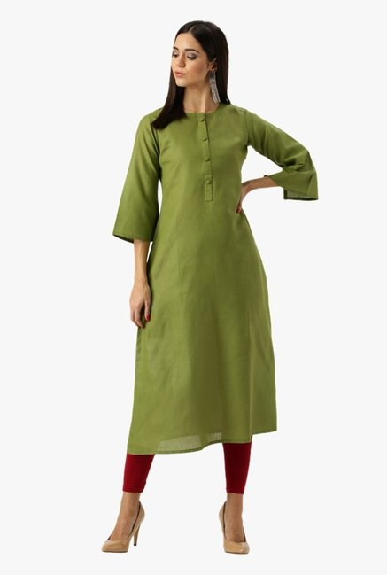 Libas Green Textured Cotton Kurta