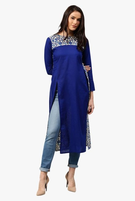 Libas Ink Blue Printed Cotton Kurta
