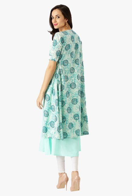 Libas Turquoise Printed Polyester Kurta With Jacket