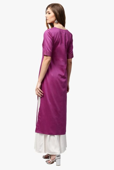 Libas Pink Regular Fit Cotton Straight Kurta