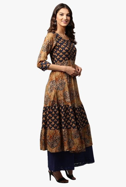 Libas Brown & Navy Printed Rayon Anarkali Kurta