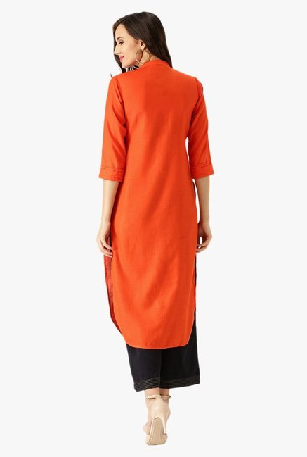 Libas Orange Textured Cotton Kurta