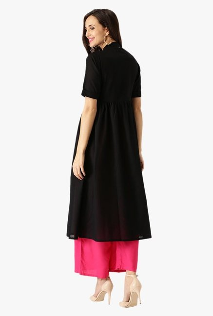 Libas Black Regular Fit Cotton Kurta