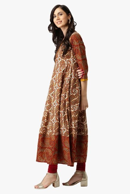 Libas Brown Paisley Print Cotton Kurta