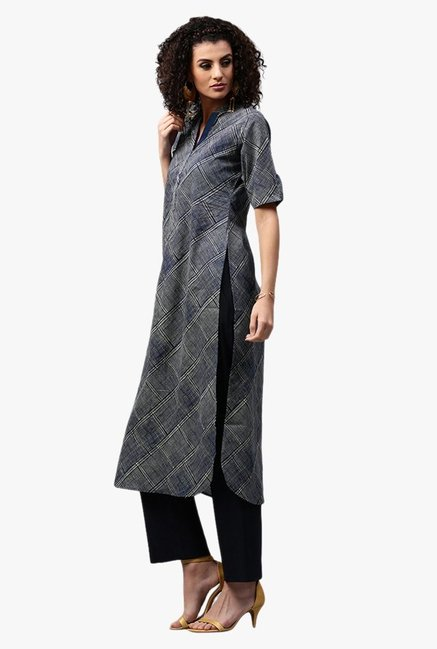 Libas Navy Printed Cotton Pathani Kurta