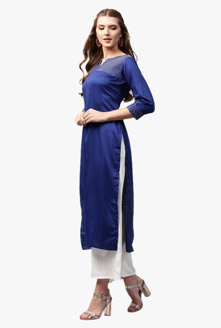 Libas Ink Blue Regular Fit Cotton Straight Kurta
