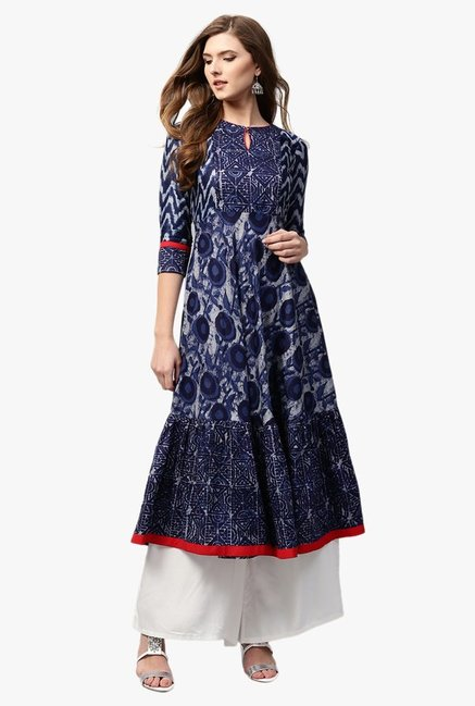 Libas Navy Printed Cotton Anarkali Kurta