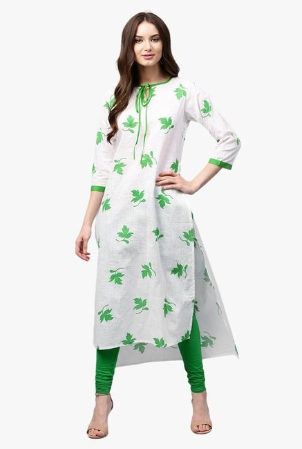 Libas White & Green Printed Cotton Straight Kurta