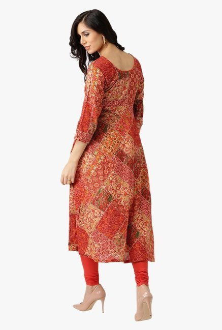 Libas Orange Printed Cotton Kurta