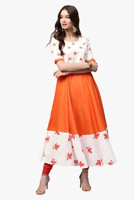 Libas Orange & White Printed Cotton Anarkali Kurta