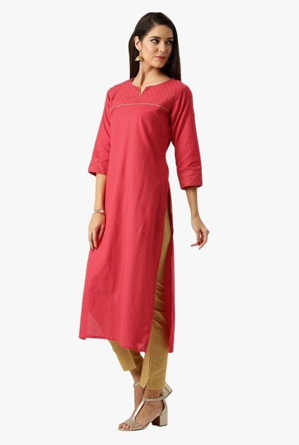 Libas Pink Regular Fit Cotton Kurta