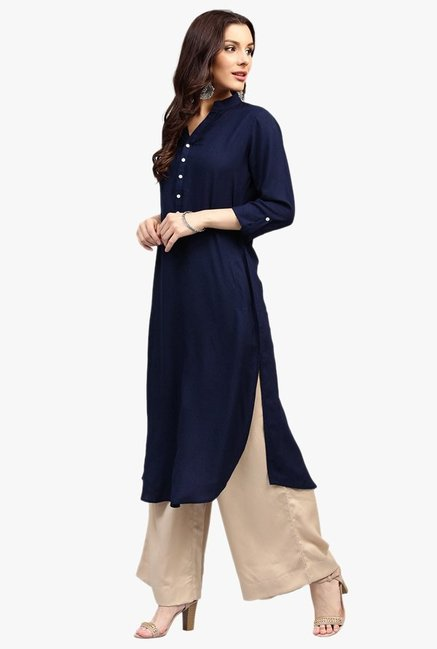 Libas Navy Regular Fit Rayon Pathani Kurta