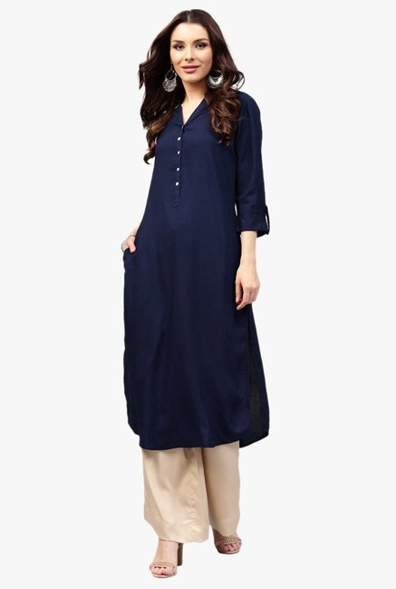 547f42d8803 Buy Libas Navy Regular Fit Rayon Pathani Kurta for Women Online   Tata CLiQ