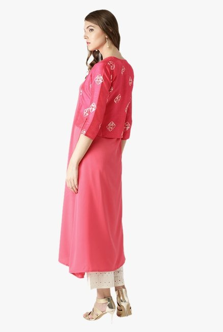 Libas Pink Printed Polyester Kurta With Jacket