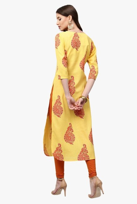 Libas Yellow Printed Cotton Pathani Kurta