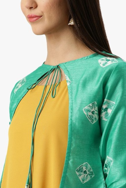 Libas Mustard & Green Printed Polyester Kurta With Jacket