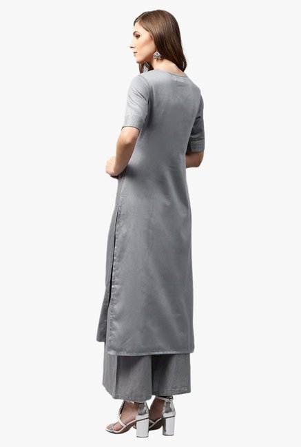 Libas Grey Regular Fit Cotton Straight Kurta