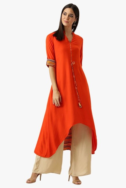 Libas Orange Regular Fit Rayon Kurta