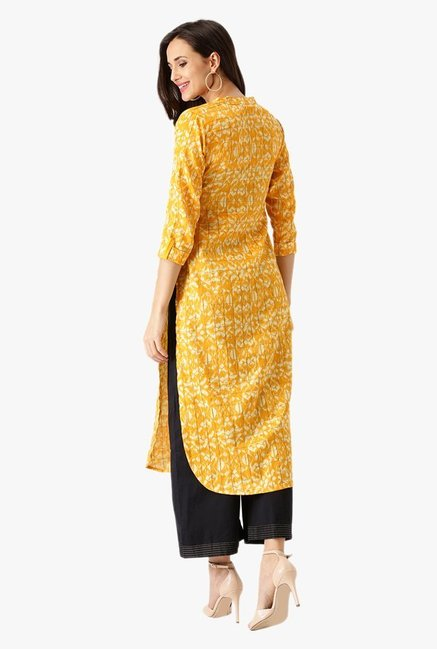 Libas Yellow Printed Cotton Kurta