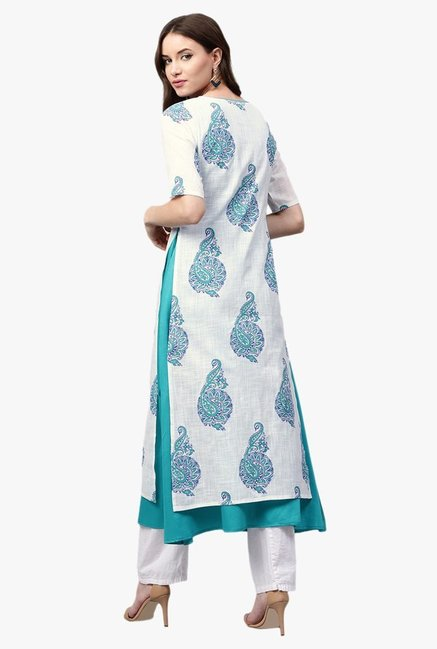 Libas White & Teal Printed Cotton A-Line Kurta