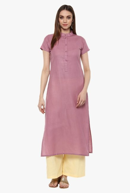 Libas Purple Textured Cotton Straight Kurta