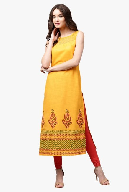 Libas Mustard Printed Cotton Straight Kurta